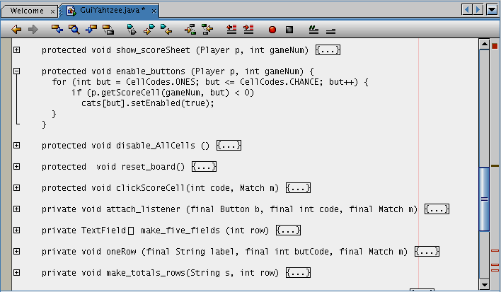 Figure 9. Netbeans IDE allows code detail to be removed from the display, allowing a broader contextual view of the program code.
