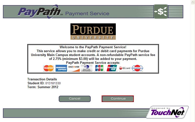 Click Continue to PayPath TM to make your deposit.