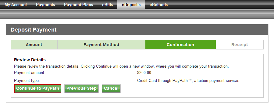 Note the payment amount and click Select.