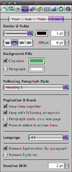 5 If you want the paragraph style to be indented relative to the page margins, set the paragraph indents in the Tabs pane of the Text inspector. Set the first-line indent.