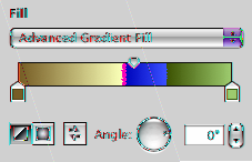 To fill an object with a linear, two-color gradient: 1 In the Graphic inspector, choose Gradient Fill from the Fill pop-up menu. Click each color well to select colors.