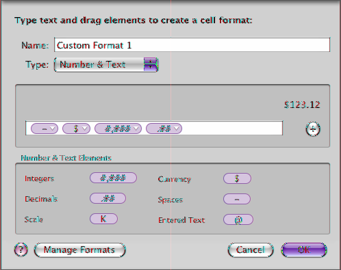 2 Choose Custom from the Cell Format pop-up menu in the Format pane of the Table inspector. Format field Drag the elements to the format field. 3 From the Type pop-up menu, choose Number & Text.