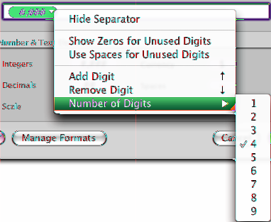 After adding an Integers element to a custom number format, you can select it, click its disclosure triangle, and use the items in its pop-up menu to customize the element s display attributes.
