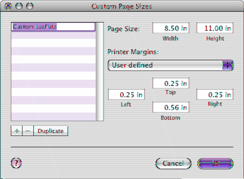 If you want to set a custom paper size, choose Manage Custom Sizes from the pop-up menu. Otherwise, go to step 7. Choose a printer to set its default page margins. Create a new custom paper size.
