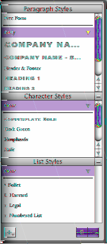 The Styles drawer lists and provides a preview of all the text styles in the template you are using, so you can create, customize, and manage styles easily.