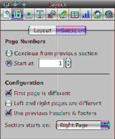 To restart page numbering in a document section: mm Click in the section, select Start at in the Section pane of the Layout inspector, and then specify the number of the first page of the section.