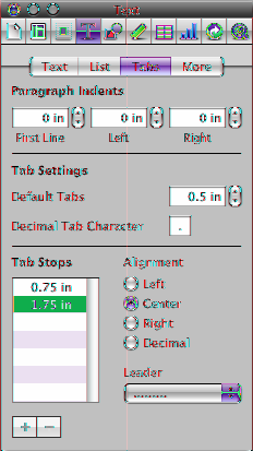mm To create a new tab stop using the Text inspector, click in the document where you want to create a new tab stop, click Inspector in the toolbar, and then click Tabs.