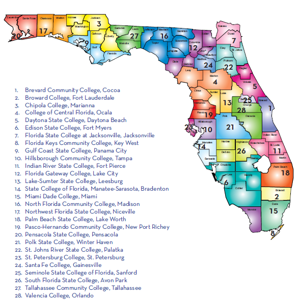 Map of Colleges in The Florida College System 1. Brevard Community College, Cocoa 2. Broward College, Fort Lauderdale 3. Chipola College, Marianna 4. College of Central Florida, Ocala 5.