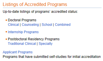 Accredited? APA only accredits doctoral programs in clinical, counseling, school, and combined/integrated psychology Verify at www.apa.