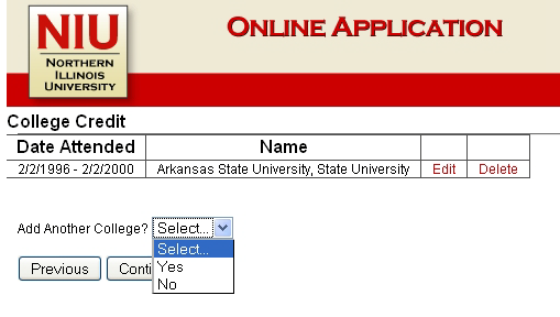 Once a college is selected, the applicant can report any degrees earned or earning from the institution.