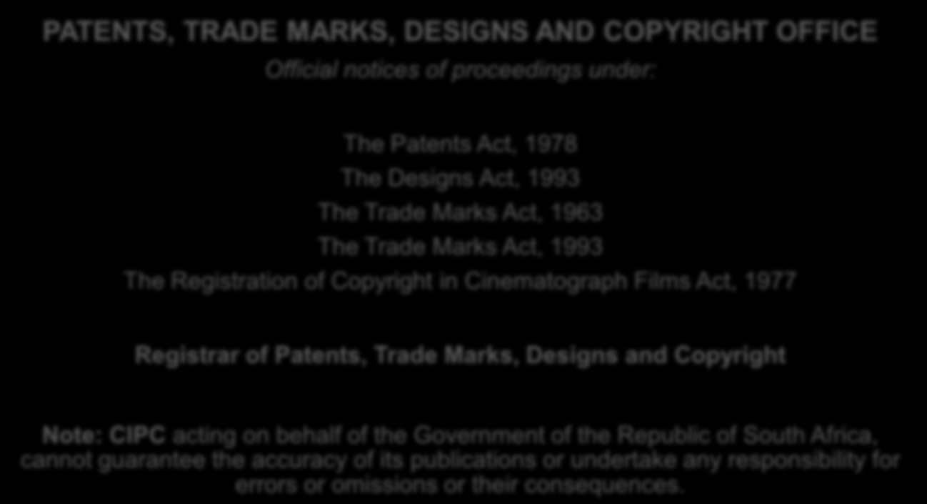 INCLUDING TRADE MARKS, DESIGNS AND COPYRIGHT IN CINEMATOGRAPH FILMS VOL. 45 No.