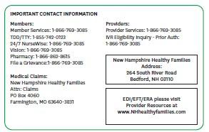 Please show this card every time you go for any service under the New Hampshire Healthy Families program.