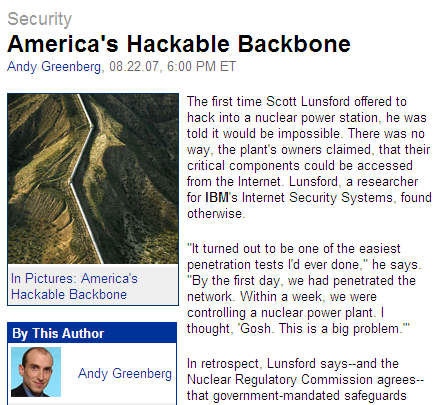Should we care more about security in SCADA systems? IBM researchers hack into a nuclear power station.