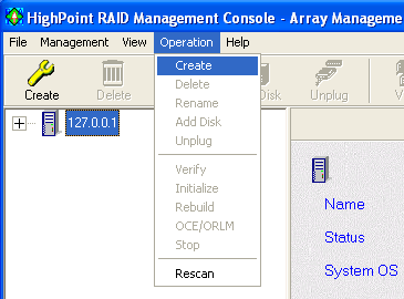 RocketRAID 3220 Driver and Software Installation 3 - Creating an Array To create an array: 1. Highlight the Management menu, then select the Array Management function. 2.