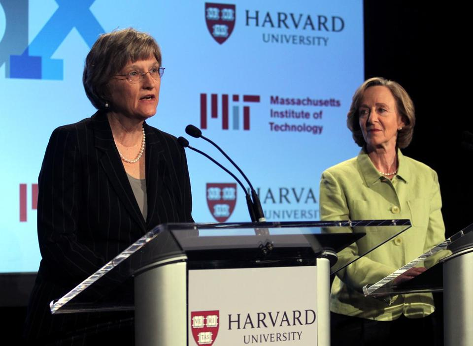 Metro Harvard, MIT to partner in $60m initiative on free online classes By Mary Carmichael G L O BE S T A F F MA Y 0 2, 2 0 1 2 BILL GREEN E/GLOBE STA FF Harvard President Drew Faust (left) and MIT