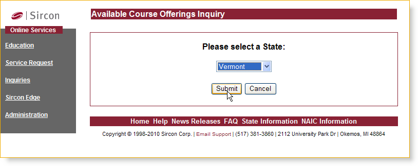 Using the Service From the Please Select a State dropdown menu, select the state in which you wish to search for available courses, and then click on the Submit button.
