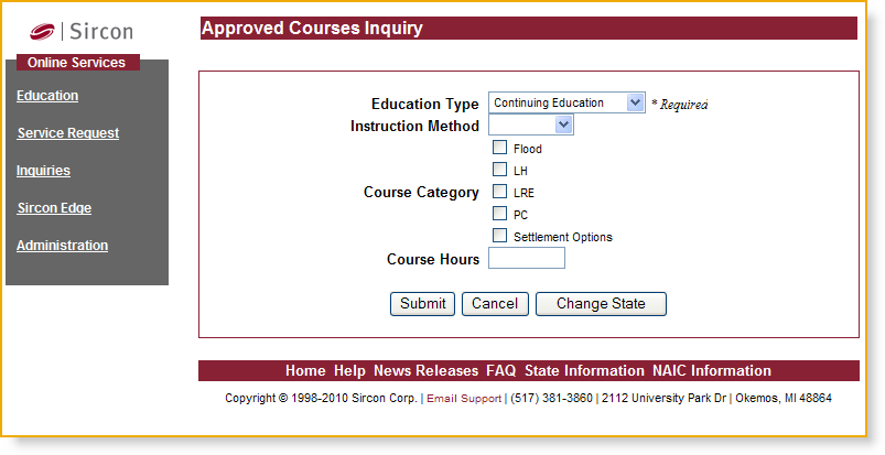 Using the Service From the Please Select a State dropdown menu, select the state in which you wish to search for approved courses, and then click on the Submit button.