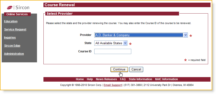 Using the Service Courses may be renewed by navigating to the Online Services menu. Select the Education menu page.