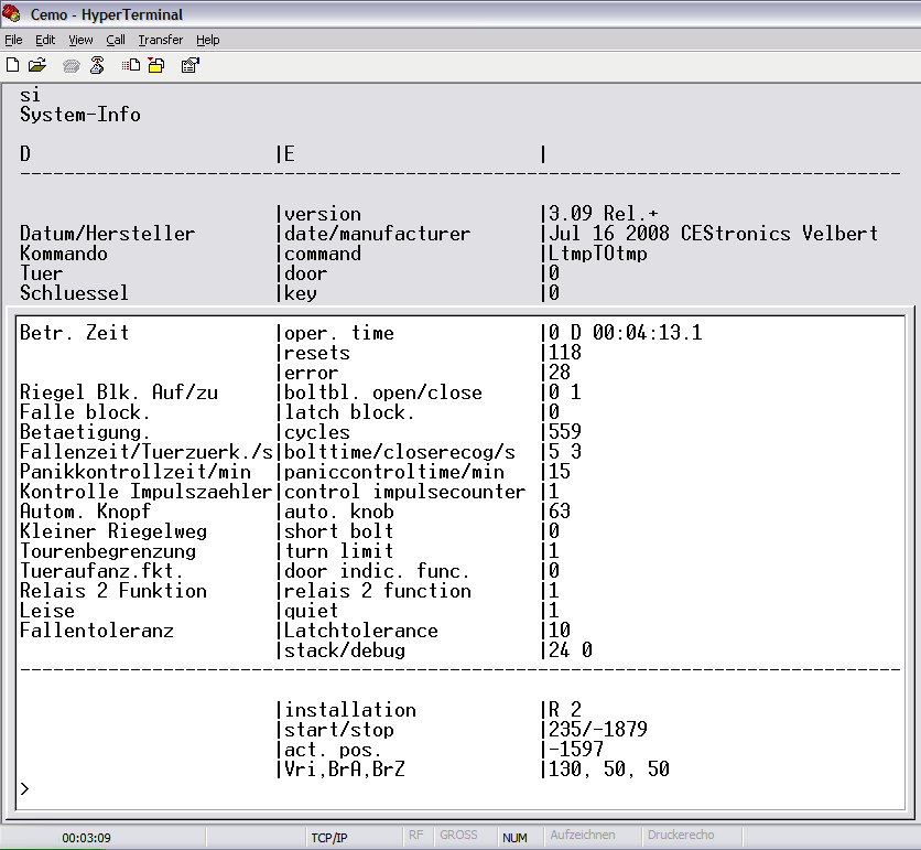 "CEMO configuration commands The following figure shows the output after entering the ""si"""