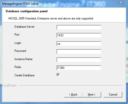Clicking Next will take you to the Database configuration panel. 13.