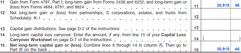 FIGURE 12: 2007 SCHEDULE D (FORM 1040) FOR DARK LEIF Observation Form 1040 Line 22 If Dark Leif, in the above example, was not a farmer, a plausible argument might be made to report the Grower
