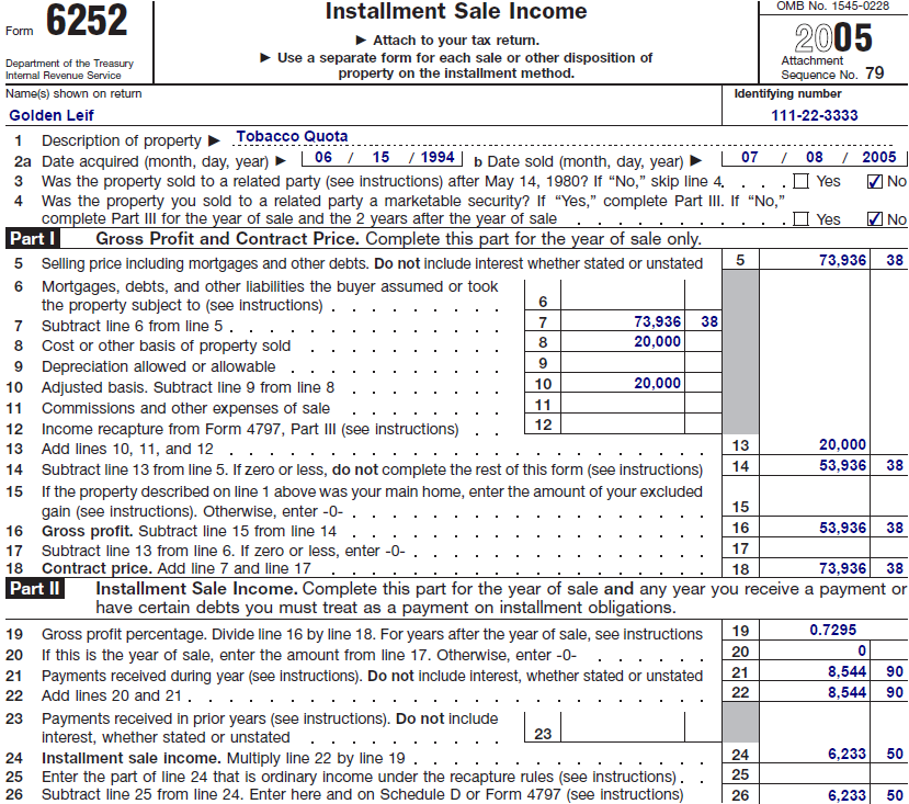 Golden did not elect out of installment reporting. In 2005, his tax preparer calculated his gross profit and reported it on Form 6252, Installment Sale Income, as shown in Figure 3.