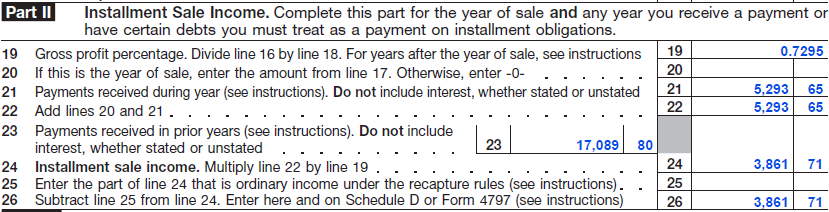FIGURE 5: GOLDEN S 2007 FORM 6252 Golden continues to report his TTPP installment payments in this manner until the end of the contract in 2014.