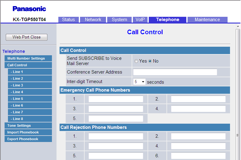 3.7.2 Call Control Selected, Not selected If you clear all the check boxes for the base unit and the handsets, calls cannot be made from either the base unit or the handsets.