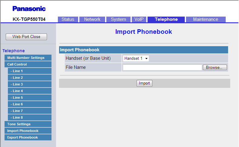 3.7.5 Import Phonebook If the existing phonebook data has an entry with the same name and phone number as an imported entry, the imported entry is not added as a new entry.