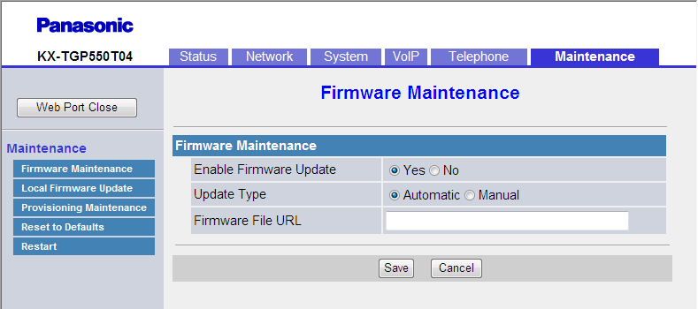 3.8.1 Firmware Maintenance 3.8 Maintenance This section provides detailed descriptions about all the settings classified under the [Maintenance] tab. 3.8.1 Firmware Maintenance This screen allows you to perform firmware updates automatically or manually.