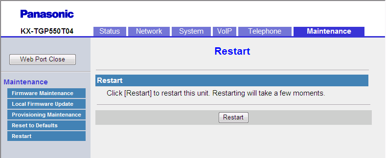 3.8.5 Restart Notice After resetting the settings, the base unit will restart even if it is being accessed through the phone user interface, or on calls.