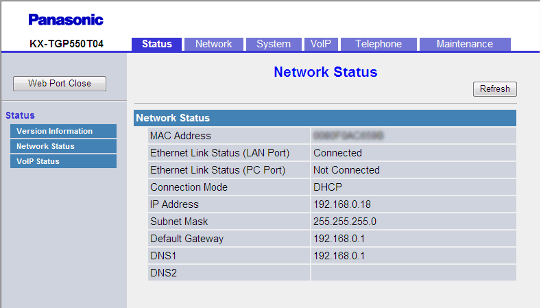 3.3.2 Network Status Current firmware version 3.3.2 Network Status This screen allows you to view the current network information of the unit, such as the MAC address, IP address, Ethernet port status, etc.