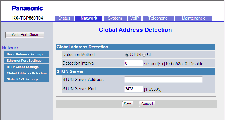 3.4.4 Global Address Detection 3.4.4 Global Address Detection This screen allows you to configure the Global Address Detection feature and STUN server settings.