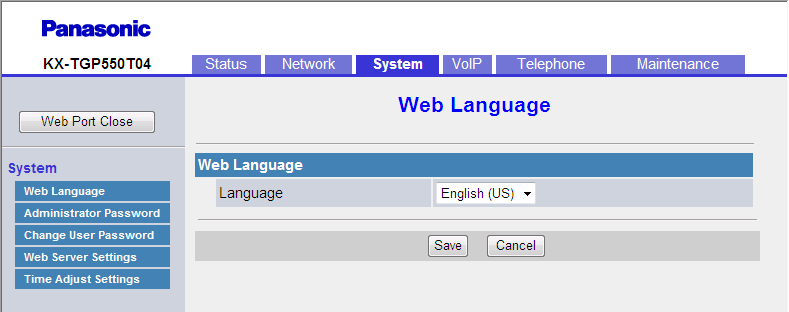 3.5.1 Web Language 3.5 System This section provides detailed descriptions about all the settings classified under the [System] tab. 3.5.1 Web Language This screen allows you to select the language used for the Web user interface.