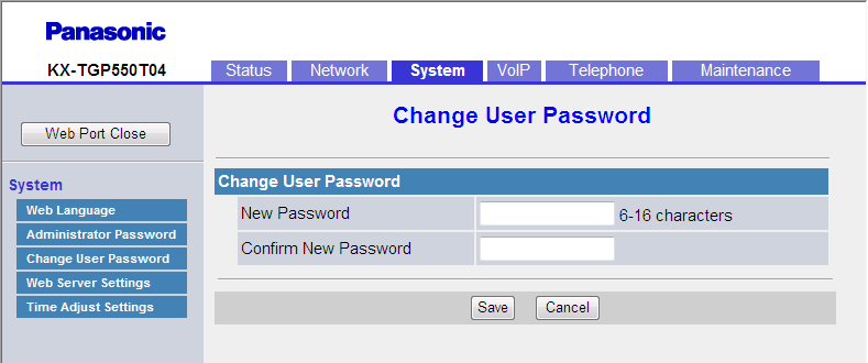 3.5.3 Change User Password 3.5.3 Change User Password This screen allows you to change the password used to authenticate the User account when logging in to the Web user interface.