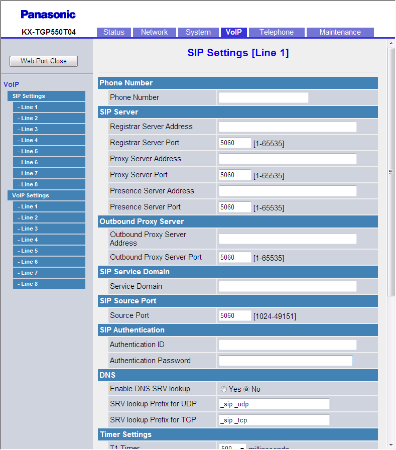 3.6.2 SIP Settings [Line 1] [Line 8] 3.6.2 SIP Settings [Line 1] [Line 8] This screen allows you to change the SIP settings that are specific to each line. 3.6.2.1 Phone Number Phone Number Specifies the phone number to use as the user ID required for registration to the SIP registrar server.