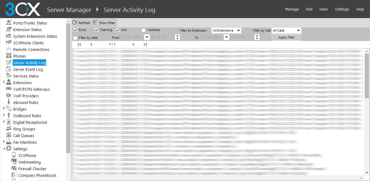 Screenshot - 3CX Phone System Activity Log Monitor the server status log to troubleshoot issues. This utility shows the activity log of the server, and logs potential reasons for error conditions.