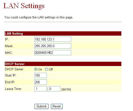 1.13.3 WAN Settings: Yu can cnfigure the VIP Phne Netwrk setting in this page. Yu can chse Brigde r NAT fr the LAN mde. If yu set the Bridge On, then the tw Fast Ethernet prts will be transparent.