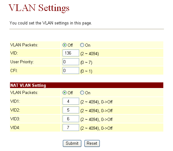 1.13.6 VLAN Settings: u can set the VLAN setting in this page. There are tw parts in this page.
