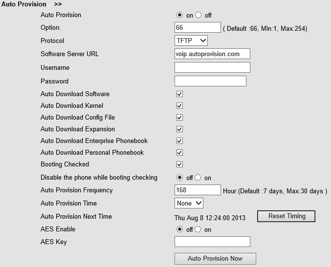 When using auto provision, you can set several parameters as follow: Auto Provision Auto Provision You can enable/disable auto provision by select on/off Protocol Used for auto provision, it includes