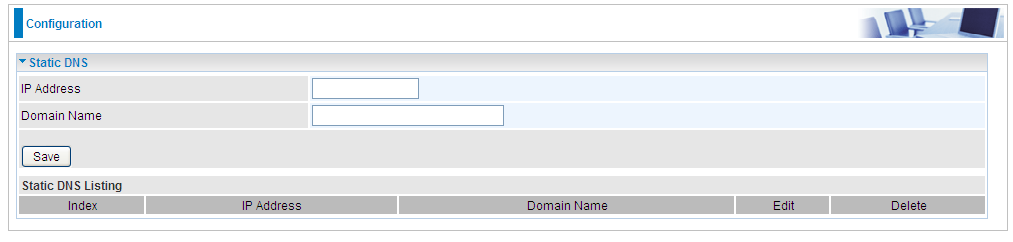 Advanced Setup 76 Static DNS The Domain Name System (DNS) is a hierarchical naming system built on a distributed database for computers, services, or any resource connected to the Internet or a