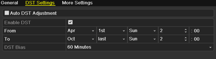 12.2 Configuring DST Settings 1. Enter the General Settings interface. Menu >Configuration>General 2. Choose DST Settings tab. Figure 12.