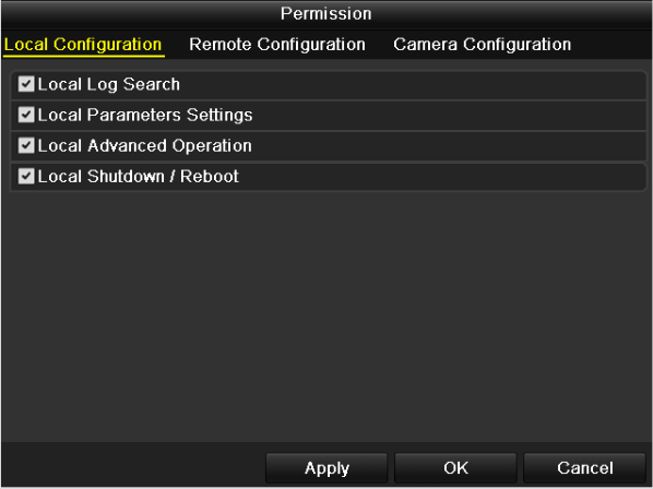 Operator: The Operator user level has permission of Local Log Search in Local Configuration, Remote Log Search and Two-way Audio in Remote Configuration and all operating permission in Camera