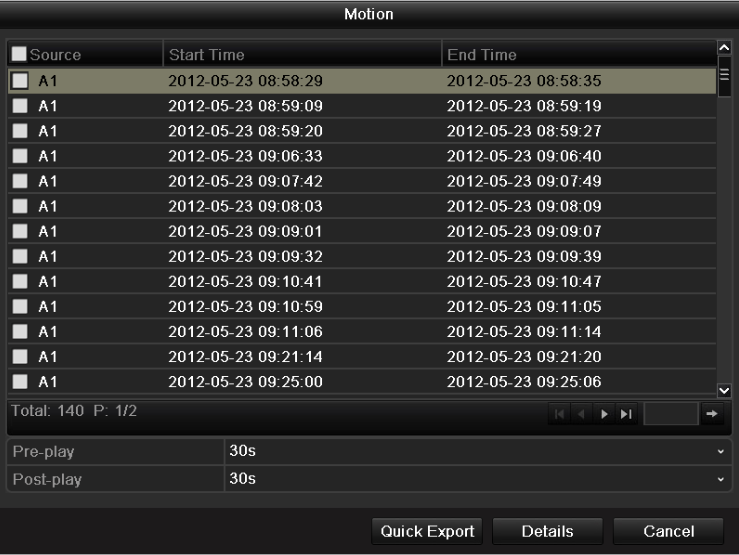 Figure 6.13 Result of Event Search 6. Select record files to export.