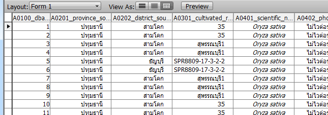 ภาพการแสดงข อม ลในร ปแบบ 3 แบบ (Form View, List View, Table View) Form View Field labels List View Field labels Table View
