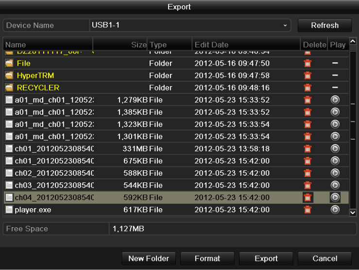 Figure 7.20 Export Video Clips Using USB Flash Drive finished. Stay in the Exporting interface until all record files are exported with pop-up message Export Figure 7.