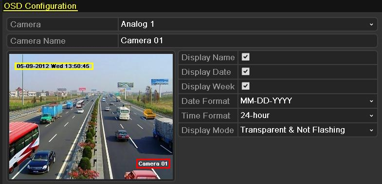 11.1 Configuring OSD Settings Purpose: You can configure the OSD (On-screen Display) settings for the camera, including date /time, camera name, etc. 1. Enter the OSD Configuration interface.