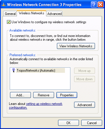 Chapter 2 Getting Started Configure a Windows XP PC client 1. From the Start button, select Control Panel Network Connections. 2. Right-click the Wireless Connections icon and select Properties. 3.