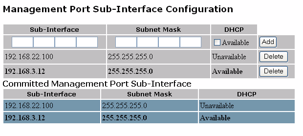 Chapter 4 Configuring Network Settings Figure 22 Management Port Sub-Interface Screen 4. Enter the IP address and the netmask for the sub-interface. 5.