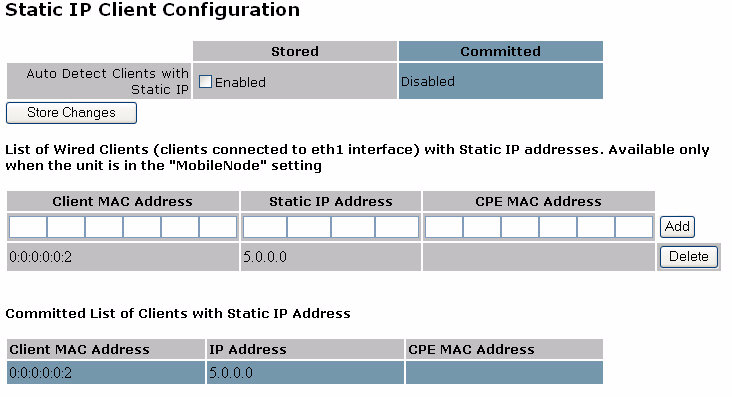 Chapter 5 Managing Clients Static Client for Mobile Node Use the Static IP Client Configuration screen (Figure 33)to assign an IP address for a wired client connected to a Tropos 4210 node over the